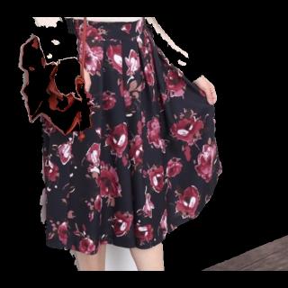 このコーデで使われているROPE' PICNICのミモレ丈スカート[ネイビー/レッド]