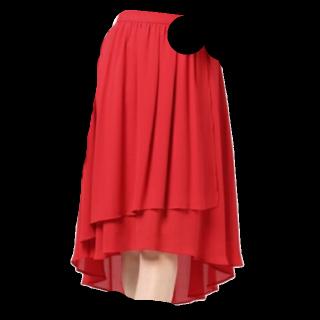 このコーデで使われているミモレ丈スカート[レッド]