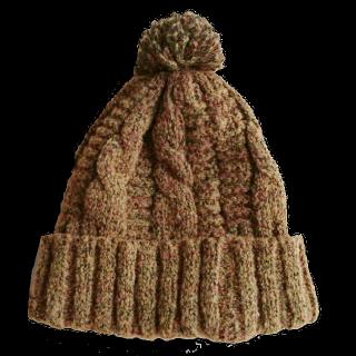 このコーデで使われているCA4LAのニット帽[キャメル/オレンジ]