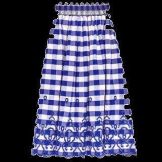 このコーデで使われているZARAのミモレ丈スカート[ブルー/ホワイト]