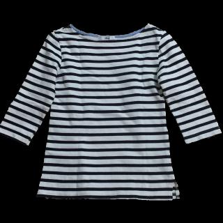 このコーデで使われている手作りのTシャツ/カットソー[ホワイト/ネイビー]