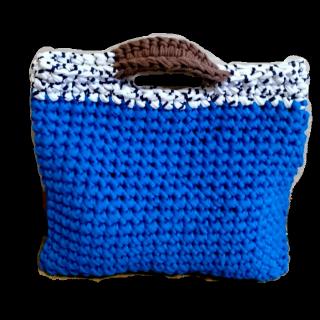 このコーデで使われている手作りのトートバッグ[ホワイト/ブルー]