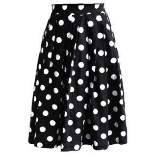 このコーデで使われているミモレ丈スカート[ブラック/ホワイト]