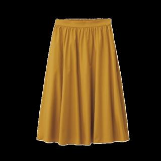 このコーデで使われているGUのひざ丈スカート[イエロー]
