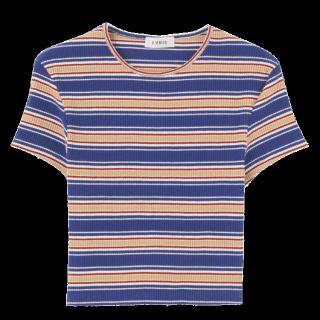 このコーデで使われているEVRISのTシャツ/カットソー[ブルー/キャメル/レッド/ベージュ/ホワイト]