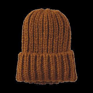 このコーデで使われているGUのニット帽[キャメル]