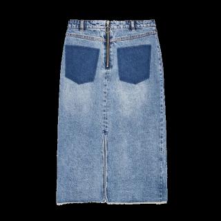 このコーデで使われているZARAのデニムスカート[ブルー/ネイビー]