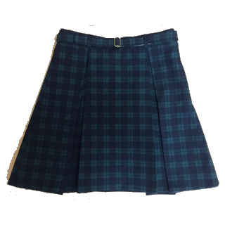 このコーデで使われている手作りのひざ丈スカート[グリーン/ブラック]