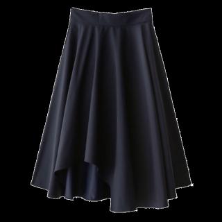 このコーデで使われているGRLのミモレ丈スカート[ネイビー]
