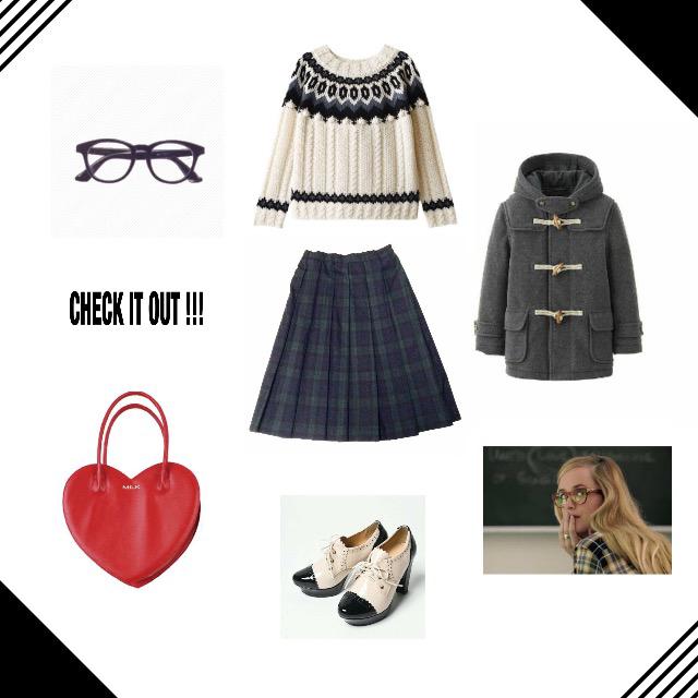 グレーのダッフルコートにチェックのスカートを合わせたスクール風コーデにポイントでハートの赤のバックをチョイス